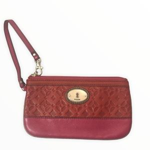 Fossil pink red embossed leather wristlet pouch